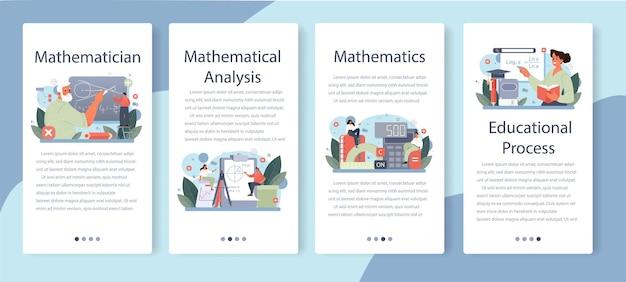 Набор баннеров мобильного приложения математик. векторная иллюстрация.