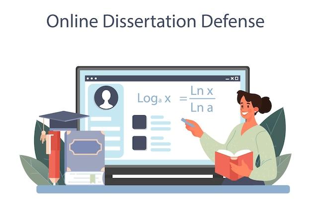Mathematician online service or platform. mathematician use scientific pattern to formulate new calculation. online dissertation defense. vector illustration.