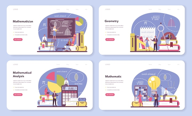 数学者のwebバナーまたはランディングページセット。
