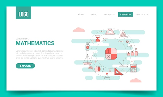 Mathematics concept with circle icon for website template or landing page banner homepage outline style illustration