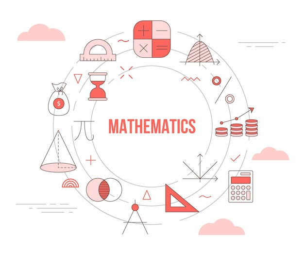 Mathematics concept with icon set template banner with modern orange color style and circle round shape illustration