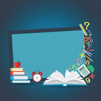 Mathematics design background with open book