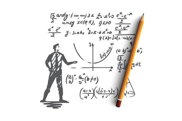수학, 교육, 과학, 학교, 연구 개념. 손으로 그린 과학자와 수학 공식 개념 스케치.