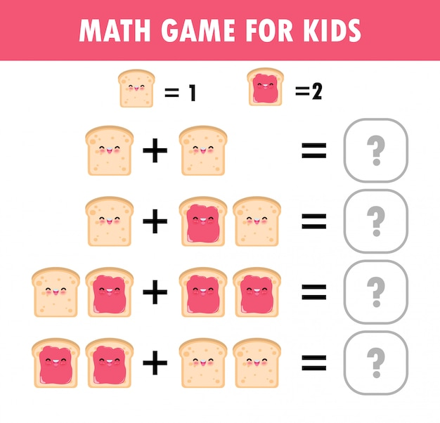 Mathematics educational game for children learning counting, addition worksheet for kids. math addition subtraction puzzle toast food funny breakfast trick question solve flat  illustration