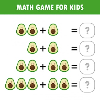 Mathematics educational game for children. learning counting, addition worksheet for kids.