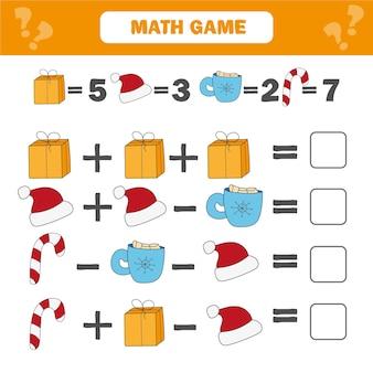 Математическая обучающая игра для детей. рабочий лист математических уравнений счета для детей. рождество, тема зимних праздников