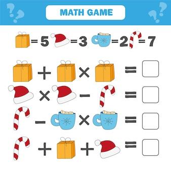Математическая обучающая игра для детей. рабочий лист математических уравнений счета для детей. рождество, тема зимних праздников Premium векторы
