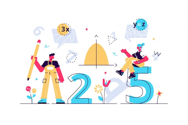 Mathematics illustration. flat mini persons education concept. algebra symbols with geometry figures used learning science in school or university. arithmetic knowledge symbols collection set.