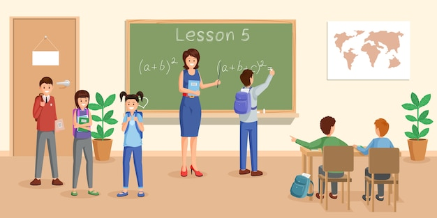 Mathematics lesson flat vector illustration