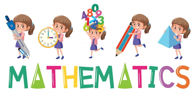 Mathematics logo with girl in many movements isolated