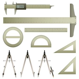 数学測定器。正確な測定を備えた数学測定器のセット。