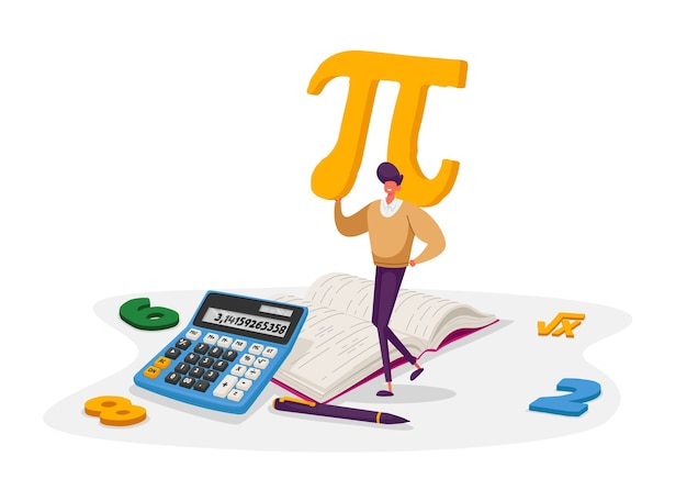 Mathematics science and algebra concept. tiny student male character carrying huge sign pi with digits, textbook, formula root symbol. university and high school education. cartoon