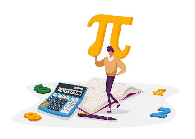 Математика и концепция алгебры. крошечный мужской персонаж студента, несущий огромный знак пи с цифрами, учебник, символ корня формулы. университетское и среднее образование. мультфильм