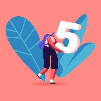 Mathematics science concept. happy smiling girl student character carry huge number five in hands. cartoon illustration