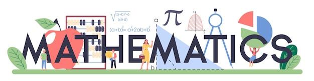 Mathematics typographic text with illustration.