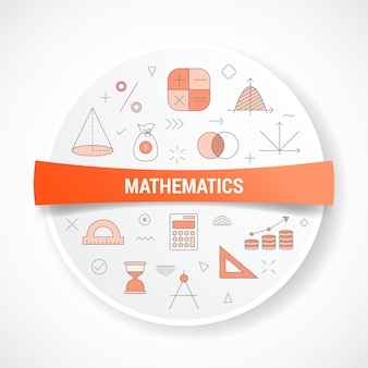 Mathematics with icon concept with round or circle shape illustration