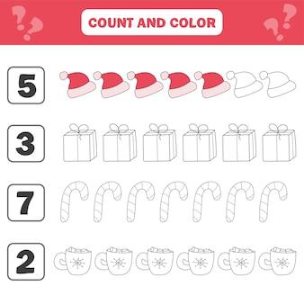 아이들을 위한 수학 워크시트입니다. 교육 어린이 활동을 계산하고 색칠합니다. 어린이를 위한 교육 계산 게임의 흑백 만화 그림. 크리스마스, 겨울 방학 테마