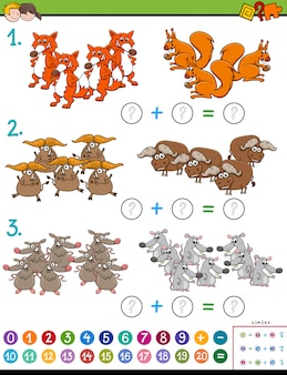 Maths addition educational task with animals