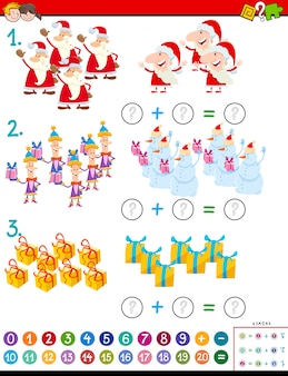 Maths addition task with christmas characters