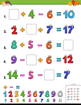 Maths calculation educational task for children
