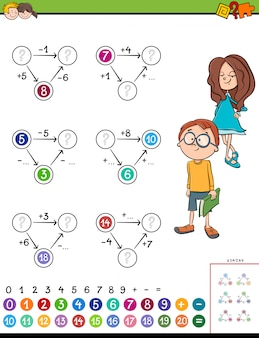 Maths calculation educational task for kids