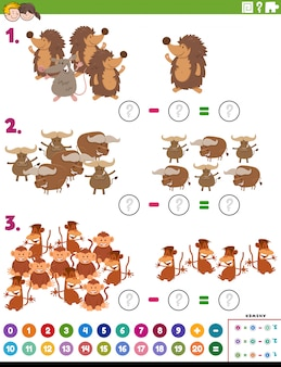 Maths subtraction educational task with animals