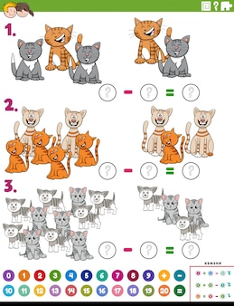 Математика вычитание учебное задание с кошками