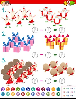 Maths subtraction task for kids with christmas characters