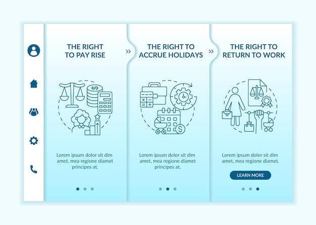 母性は労働者の権利をオンボーディングベクターテンプレートに残します。アイコン付きのレスポンシブモバイルサイト。 webページのウォークスルー3ステップ画面。線形イラストと従業員の権利の色の概念