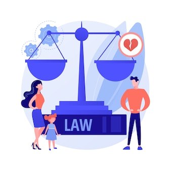 Matrimonial law abstract concept vector illustration. family law, matrimonial property, child custody, divorce decree, scales of justice, sign document, judges gavel, agreement abstract metaphor.