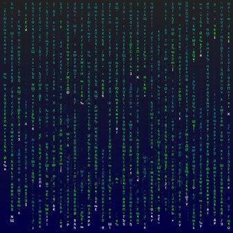 녹색 기호, 벡터 편집 가능한 그림이 있는 매트릭스 배경.