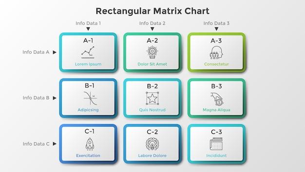 行と列に配置された9つの長方形の紙の白血球を含むマトリックスチャート。選択できる9つのオプションがあるテーブル。きれいなインフォグラフィックデザインテンプレート。ビジネスプレゼンテーションのベクトルイラスト。