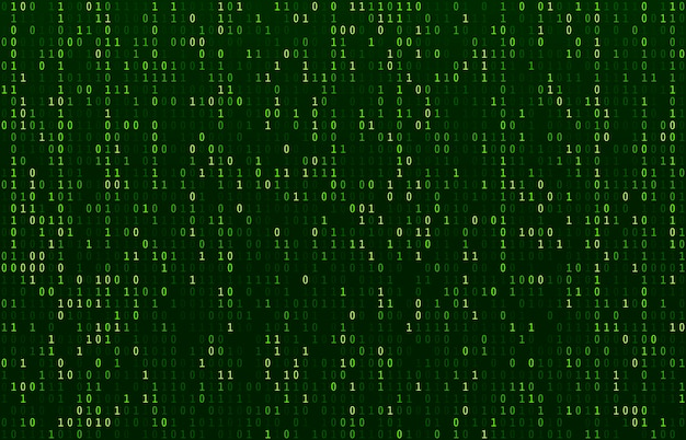 Matrix code stream. green data codes screen, binary numbers flow and computer encryption row screens abstract