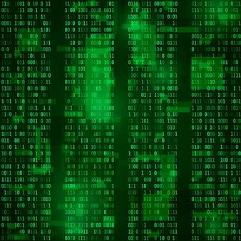 マトリックス。コード化されたビットストリーム。緑の背景