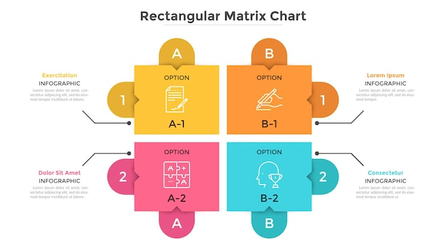 Матричная диаграмма с 4 красочными прямоугольными ячейками, расположенными в ряды и столбцы. таблица с четырьмя вариантами выбора. современный инфографический шаблон дизайна. плоские векторные иллюстрации для презентации.