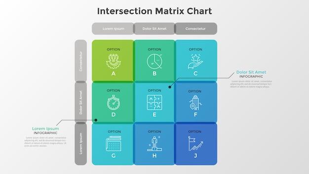 行と列に配置された9つの交差した半透明のセルを含むマトリックス図。 9つのオプションを備えたテーブルまたはグリッド。モダンなインフォグラフィックデザインテンプレート。ビジネス分析のためのフラットなベクトル図。
