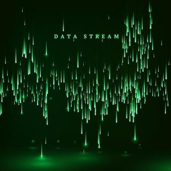 マトリックス。マトリックススタイルの緑色の背景。データストリーム。ランダムデータブロックの落下。サイバースペースまたはバーチャルリアリティの視覚化。ベクトルイラスト