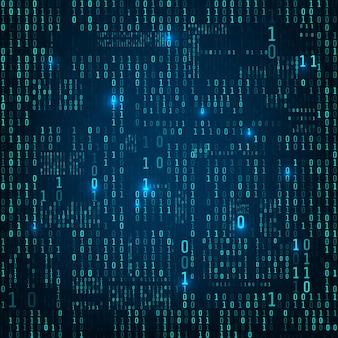 2進数の行列。バイナリコンピュータコード。青いランダムなデジタル番号の流れ。未来的またはsfの背景。暗い背景に落ちる数字。ベクトルイラスト