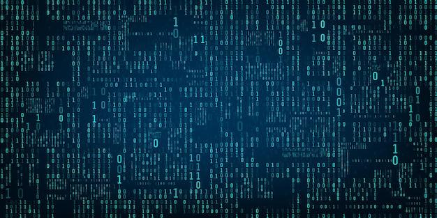2進数の行列。バイナリコンピュータコード。未来的またはsfの背景。青いランダムなデジタル番号の流れ。暗い背景に落ちる数字。ベクトルイラスト
