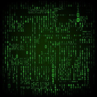 2進数の行列。バイナリコンピュータコード。緑のデジタル番号。未来的またはsfハッカーの抽象化の背景。暗い背景にある乱数。ベクトルイラスト