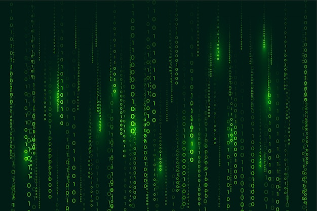 Matrix style binary code digital background with falling numbers