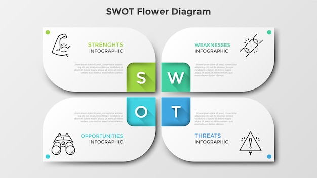 Matrix with 4 paper white petal-like elements. swot flower diagram. creative infographic design template. clean vector illustration for corporate strategic planning, business analytics presentation.