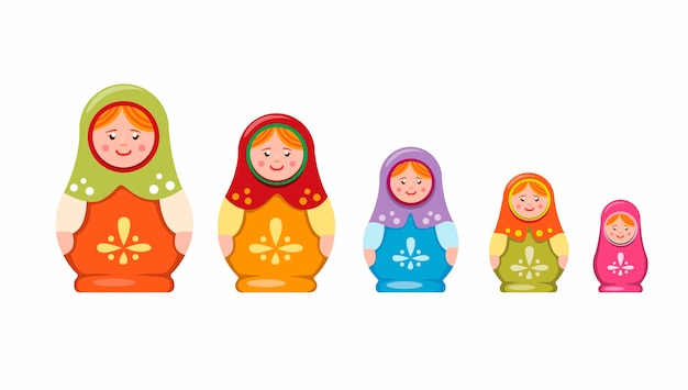 마트 또는 babushka 중첩 인형. 러시아어 컬렉션 아이콘에서 전통적인 수제 장난감 기념품 흰색 배경에 평면 그림에서 설정
