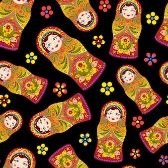 ロシア人形matryoshkaとのシームレスなパターンのベクトルイラスト