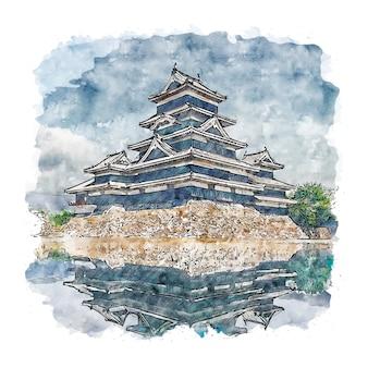 Замок мацумото япония акварельный эскиз рисованной иллюстрации