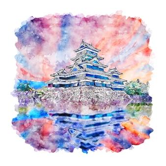 松本城日本水彩スケッチ手描きイラスト