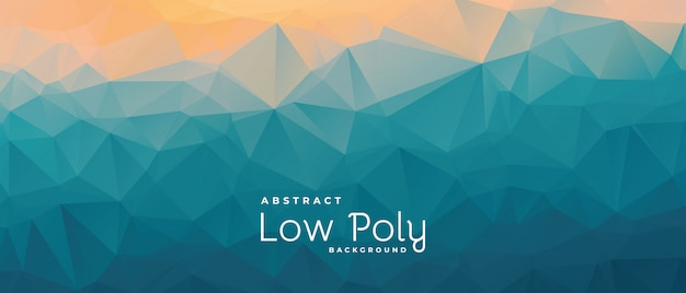 Matte colors low poly abstract banner with triangle shapes