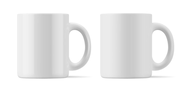 Matte and glossy mug for drinks front view.