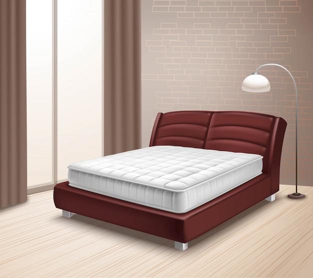 Кровать матраса в домашнем интерьере
