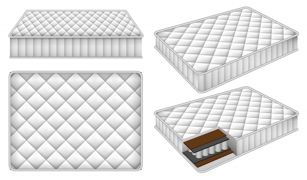 Mattress bedding bed mockup set
